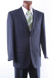 ID#RK9045 Two buttons Navy Pinstripe Dress Suit Single Pleat