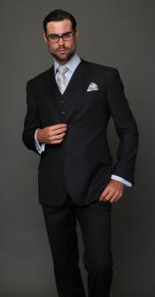 Two buttons Navy Pinstripe