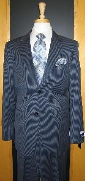 ID#UH703 Two buttons Navy Pinstripe Flat Front Wool fabric Cheap Priced Fitted Tapered cut Suit