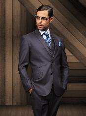 Slim Two buttons Navy Vested Suit Comes With 3 ~ Three Piece Free Shirt & Tie