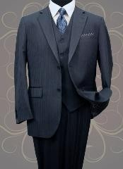 ID#XP20845 3 ~ Three Piece Classic Vested 3 Piece Wool fabric Two buttons Navy Mini Pinstripe Suit Pleated creased Pants