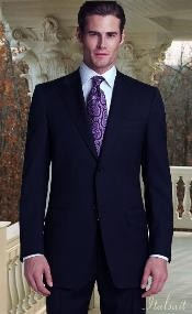 Classic 2pc Two buttons Navy Superior fabric 150's With Hand Pick Stitching on Collared