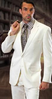 ID#KA1226 CLASSIC Inexpensive ~ Cheap ~ Discounted Clearance Sale Extra Slim Fit Prom 2 piece 2 Button OffWhite Mens Suit