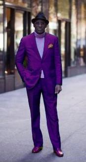 ID#PRL672 Classic Ultra Smooth Two buttons Suit Purple pastel color
