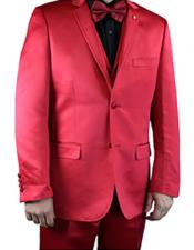 ID#VI22996 2 Buttons Notch Lapel Flat Front Pants Shiny Flashy Red Prom Suit