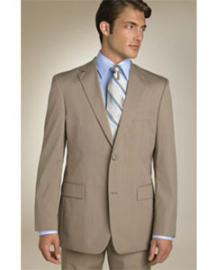ID# QPA606 Classic Business Dark Tan Wedding / Prom - Beige-Coffe-Mocca Two buttons Cheap Priced Fitted Tapered cut Wool fabric