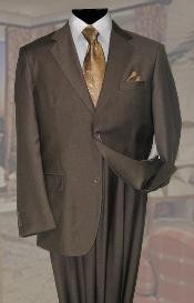 ID#KL637 Basic Solid Plain Color Taupe - Mocca - Slate Wool fabric Cheap Priced Fitted Tapered cut Suit Two buttons 2PC