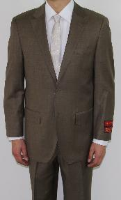 ID#JF4520 Two Button Taupe Wool fabric Suit