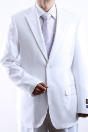 ID#HSE4 Two Button Two buttons Jacket White Dress Suit Side Vent Pleated creased Pants