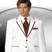 Two Buttons White With Brown Tuxedo