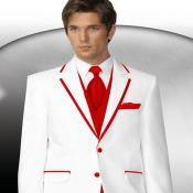 Two Buttons White With Red Tuxedo