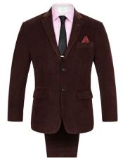 ID#DB19171 Single Vent 2 Buttons  Corduroy Wine Suit
