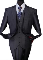 ID#AC-151 Two Piece Taylor Fit Wool fabric Suit Dark Charcoal Masculine color