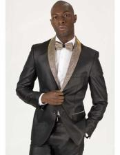 ID#DB15568 Sequin Glitter Paisely Dinner Jacket Two Toned Black Champagne  Looking Patterned Tuxedo Best Cheap Blazer For Affordable Cheap Priced Unique Fancy For Men Available Big Sizes on sale Men Affordable Sport Coats Sale