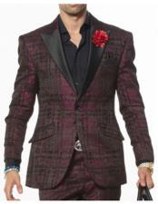 ID#VJ15271 Black Peak Lapel Two Toned Tuxedo Jacket & Pants Pink Suit