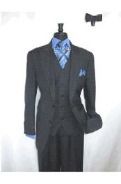 button Blue Checked Wool