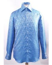 Pattern High Collar Blue
