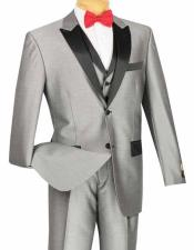 ID#SM1324 Vinci 3 Piece Classic Retro Style Two buttons Shiny Gray / Prom ~ And Perfect For Wedding Groomsmen Tuxedo Entertainer Suit