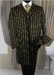 PT-93 pronounce visible Chalk Gangster Dark color black & pronounce visible PRONOUNCE WITH GOLD Stripe - Pinstripe 3PC FASHION ZOOT SUIT $180