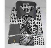 ID#NM681 Cotton Bold Large Basket Weave Pattern Black White French Cuff Dress Cheap Fashion Clearance Shirt Sale Online For Men