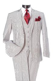 ID#DB22544 White and Black Pinstripe 2 Button Notch Lapel Single Breasted Vest Suit