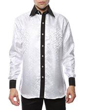 ID#DB16629 Two Toned White-Black Shiny Satin Floral ~ Flower Spread Collar Paisley Dress Cheap Fashion Clearance Shirt Sale Online For Men Flashy Stage Colored
