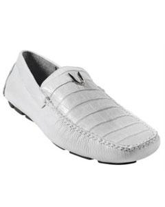 White Genuine Caiman skin Belly Driver Vestigium Driving Cheap Priced Exotic Skin men's Prom Shoes slip on Stylish Dress Loafer