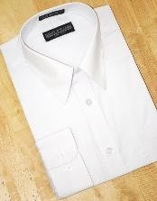 ID#HK650 White Cotton Blend Dress Cheap Fashion Clearance Shirt Sale Online For Men With Convertible Cuffs