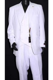 White Double Breasted Vest Suit