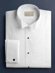 ID#SM1207 White Russ Pleated creased Wingtip French Cuff Tuxedo Cheap Fashion Clearance Shirt Sale Online For Men With Pleats Regular Fit