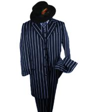 ID#SP25060 White Stripe ~ Pinstripe Striped Fashion Button Closure 2020 New Formal Style! Longer Jacket Notch Lapel 1920s Mens Fashion Clothing 1930s 50s Outfit Costume Zoot Suit Dark Navy And Bold Pronounce