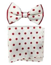 ID#DB21231 White/Red Satin Dual Colors(Red Polka Dot) Bow Groomsmen Ties With Hankie