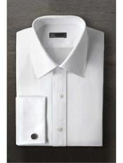 ID#SM1194 Marshall Laydown White Regular Fit Ted Baker Brand Tuxedo Cheap Fashion Clearance Shirt Sale Online For Men With Frenched Cuff