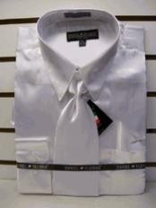 ID#PH545 New White Satin Dress Shirt Tie Combo Cheap Fashion Clearance Shirt Sale Online For Men