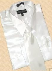 ID#ST612 Satin White Dress Cheap Fashion Clearance Shirt Sale Online For Men Tie Hanky Combo