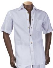 Short Sleeve Linen Button