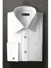 ID#SM1198 Logan Laydown White Textured Tuxedo Cheap Fashion Clearance Shirt Sale Online For Men With Frenched Cuffed Ted Baker Brand Regular Fit