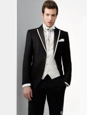 ID#DB16906 Two Toned 100% Wool Black And White ​Cheap Homecoming Tuxedo Trimmed Notch Lapel
