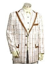 ID#EF5465 Two Button Trimmed Two Tone Sportcoat Jacket/Suit/Prom ~ Wedding Groomsmen Tuxedo White Co