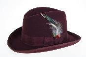 fabric Felt Fedora Burgundy