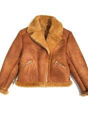 Cognac Fur Collar Shearling