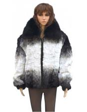 ID#DB21065 Women's Fur Black / White Diamond Mink Jacket With Fox Collar
