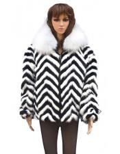 Fur Chevron Mink Black