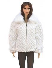 Women's Fur Natural White Chevron Mink Jacket With Genuine Fox Collar