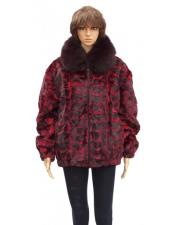 ID#DB21307 Women's Fur Red Sheared Genuine Mink With Fox Collar Jacket