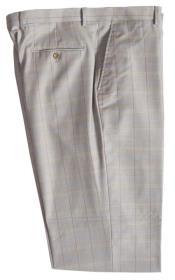 ID#DB24399 Wool Pinstripe Designed Flat Front Stone Pant