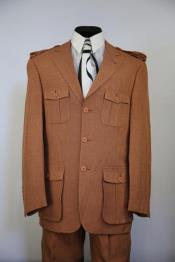 ID#DB23852 Rust - Copper - Burnt Rust Leisure Safari Military Suit Suit