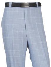 ID#DB24398 Wool WindowPane Designed Flat Front Blue Pant