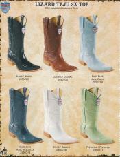 ID#A5ME 3X-Toe Genuine Lizard skin Teju Diff.Color/Size western  Boots Dark color Formal Shoes For Men black/Cognac/Baby Blue/Pistachio/White