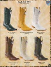 3X-Toe Genuine Elk Diff. Colors/Sizes Formal Shoes For Men western Dress Cowboy Boot Cheap Priced For Sale Online Dark color black / Brown / White / Cognac / Buttercup